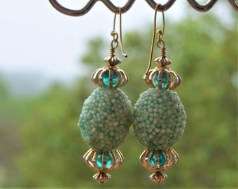 Sugar Bead Earrings,Handmade,Shades of Grass and Mint Green,with Milky White Vintage Japanese OOAK Dangle Drop Atomic Mod Style