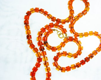 """50s Crown Trifari Necklace Amber Beads Gold Spacers 31"""" Signed"""