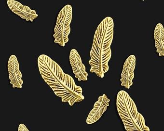 10 Pcs 3D Nail Art Decoration Gold FEATHER Alloy Studs