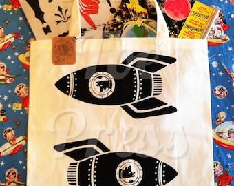 Rocket Dog Tote Bag Duo on Natural Canvas Tote