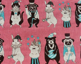 1/2 yard - Circus Animal in pink, Japanese import