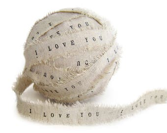 Ivory Ribbon . Wedding Favors Personalized Ribbon 2 YARDS personalised ribbon shabby chic wedding decor rustic wedding linen ribbons
