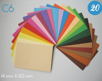 20 Colorful Envelope Assortment - Handmade C6 envelopes for A6 invitations, greeting card, annooncements, correspondence, plain envelopes