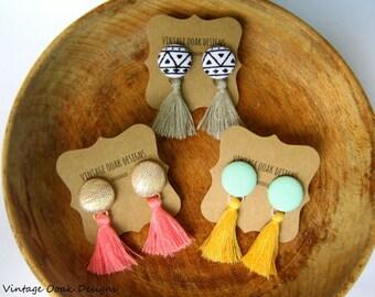 Tassel Earrings,Tassel Dangle Earrings,Tassel Earrings,Boho Tassel earrings,Bohemian Tassel earrings,Tassel Statement earrings, tassels