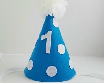 Boy first birthday hat, blue birthday hat, 1st birthday, cake smash hat