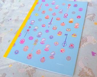 magische Gegenstände gefüttert Notebook Kunststück. Pixel-Kunst von bitmapdreams
