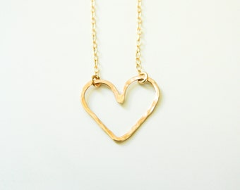 Heart Necklace, Gold Heart Necklace, Heart Jewelry, Dainty Necklace, Heart Gold Necklace, Gold Necklace, Sterling Silver, Rose Gold Necklace