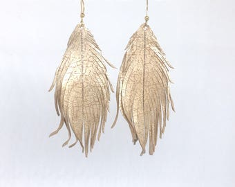 Leather feather earrings champagne beige feather earrings soft leather feather earrings leather earrings lightweight dangle earrings