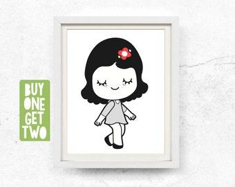 Girl illustration, Digital download, Black & White, Bedroom poster, Print, Girl, Red flower, Art, Nursery, woodland, Printable, 8x10, 11x14