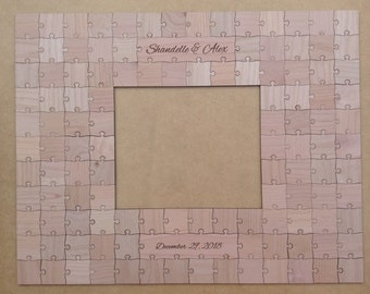 100 pcs Picture Frame Puzzle Custom Wedding Guest Book Puzzle for 8 x 10 Photo with 100 Mixed Grain Pieces