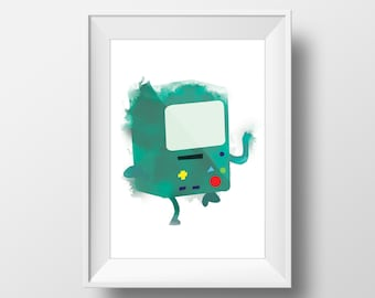 BMO Adventure Time Poster, watercolor effect printable