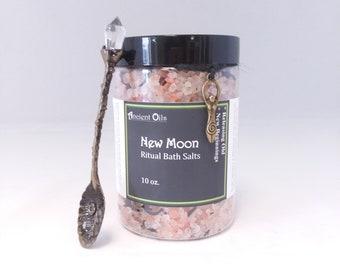 Full Moon Ritual Salt Bath with Crystal wand spoon