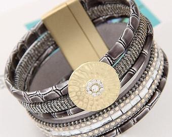 Beautiful magnetic clasp gold grey Cuff Bracelet