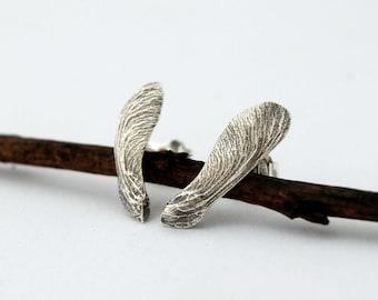 Samara stud earrings - sterling silver helicopter post earrings
