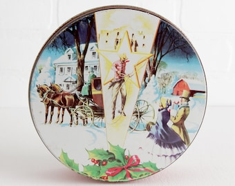 Vintage Collin Street Bakery Christmas Fruitcake Tin with Mistletoe and Cowboy Lasso, Round Christmas Cookie Tins
