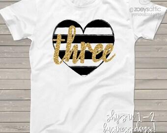 Third birthday gold glitter three black white striped heart 3rd birthday tshirt