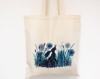 Hare Tote bag, Easter Bag, Summer shopping bag, Printed tote bag, Mother's day gift, Beach bag, floral bag, Colourful Patterned rabbit bag