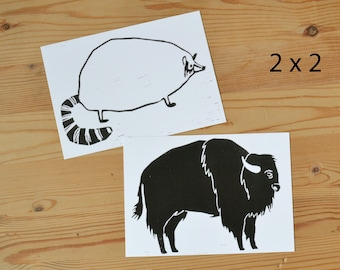 "Postcard set of 4 ""buffalo and racoon"""