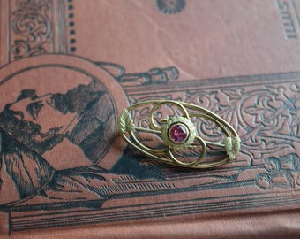 Antique Victorian Ruby Brooch, Gold Fill Ruby Stone Leaf Pin, Jewelry gift for her