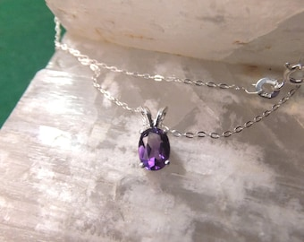 """7x5mm Amethyst & Sterling Silver 18"""" Necklace"""