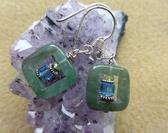 Jade, Crystal, Silver Earrings