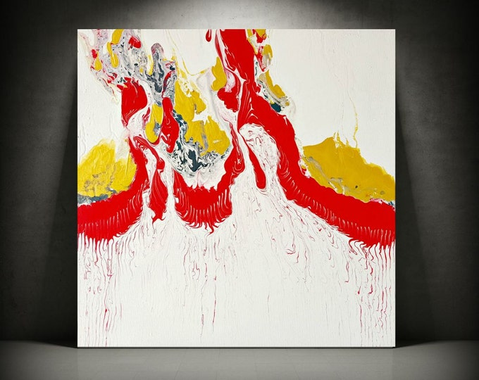 """Gold Art White Painting Art Painting Acrylic Paintings Abstract Medium / Small Wall Art Modern Home Decor on Canvas Red Painting 20"""" x 20"""""""