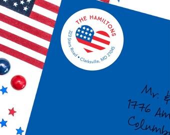 American Flag Address Labels / USA Heart Address Labels - Sheet of 24