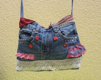 Denim bag its lace up-cycling original Plaid gingham ruffle