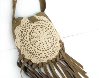 Sage Leather Boho Crossbody Bag with Fringe, Vintage Crochet Lace and Skeleton Key - Olive Leather Festival Pouch