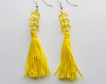 Handmade yellow tassel statement earrings