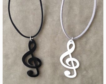 Acrylic Treble Clef Note Necklace - available 10 cord color
