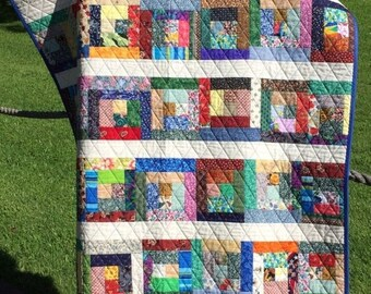 """MEMORIAL DAY SALE A Liberated 41.5"""" X 60"""" Courthouse Steps Scrap Quilt"""