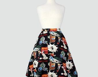 Retro Bowling Full Circle Skirt