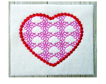 Heart Embroidery Design, Lace Heart, Machine Embroidery, 3 Sizes, No Fonts Included