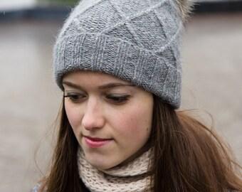 Gray Pom Pom Hat - Soft Winter Hat - Warm Winter Hat - Alpaca Hat - Womens' Winter Beanie