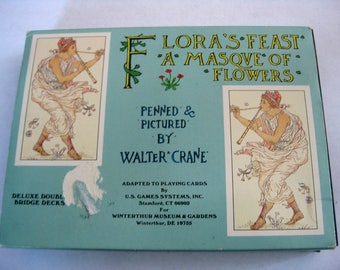 Vintage Walter Crane Playing Cards With Flora's Feast A Masque of Flowers, Double Deck In Original Box, Complete