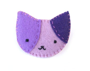 Purple calico cat brooch, cat pin, lavender kitty, felt brooch, broach, pinback button