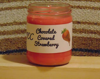 16 oz. Chocolate Covered Strawberry Candle with Recycled Jar
