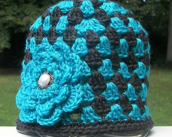 Teal and Charcoal Gray Toddler Hat with Teal Flower - Granny Square Crochet - Toddler Size 1-2 - Ready to Ship - Pearl Button - Dark Gray