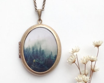 Misty Evergreens Locket - Ethereal Fine Art Photo Brass Locket Necklace - Mountain Fairy Tale