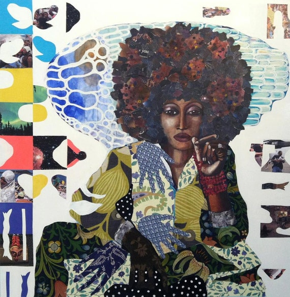 Print Art Giclee Print Collage Painting Giclee Canvas Paper Art Feminist African Art Textile Collage Folk Art Natural Hair Wall Art