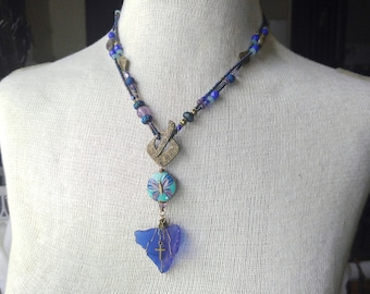 Blue Butterfly necklace, lariat necklace, beach glass necklace, cobalt blue, something blue, purple and blue, gifts for women, cross charm