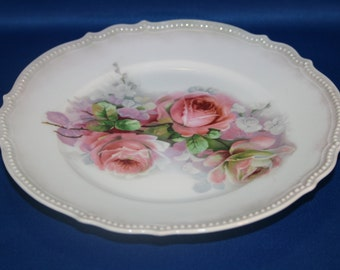 Antique Beautiful Early German P.K. Silesia Cabinet Plate Pink Roses Salad Plate Dessert Plate Dinner Plate