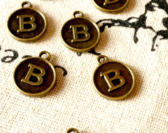 Alphabet letter B charm bronze vintage style jewellery supplies