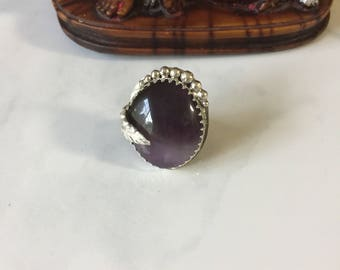 Big ring, Sterling silver ring, Big stone Ring, Amethyst Agate stone ring, OOAK ring, Statement ring