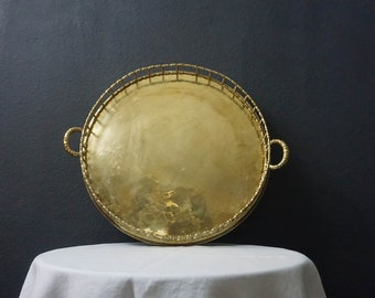 """Vintage Extra Large 18.5"""" Round Brass Bamboo Tray - Table Top Tray - Brass Bamboo - Jewelry Tray - Chinoiserie - Hollywood Regency"""