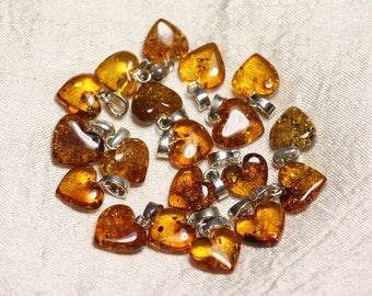 1pc - amber pendant natural Silver 925 heart 12-14mm - 8741140017856 bail