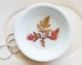 Ring Dish with Red Fern, Small Jewelry Organizer, Red Fern Ring Dish, Nature Dish, Trinket Holder, Naturalist Gift, Small Organizer
