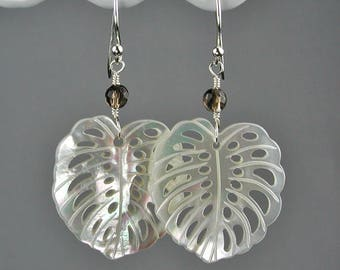 White Mother of Pearl Calla Lily Leaves with Smoky Quartz Dangle Earrings