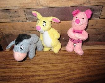 McDonalds Winnie the Pooh Toy Beanies, Eeyore, Piglet and Rabbit  (1990s)